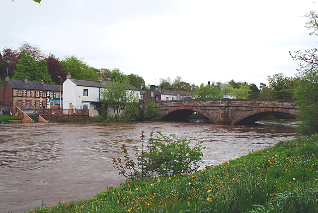 Appleby New Bridge with the River Eden high